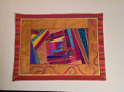 Crazy patch embellished mini quilt