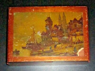 Pre WWII Dove Tail Antique Wood Box with Bavarian Village Logging Scene.