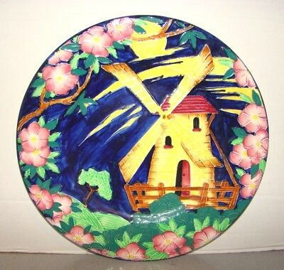 """Maling Pottery Tube Lined Windmill 11 1/8"""" Charger Plate"""