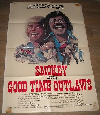 1970's SMOKEY and the GOOD TIME OUTLAWS 1 SHEET MOVIE POSTER SLIM PICKENS COMEDY