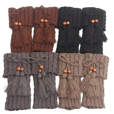 For Womens Warmers Winter Boot Toppers Tassel Short Liner Boot Socks Boot Cuffs