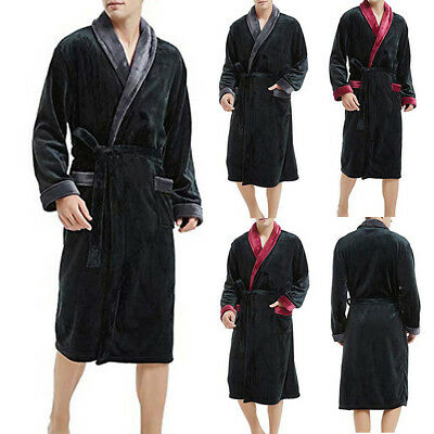 Men's Winter Plush Lengthened Shawl Bathrobe Home Gown Long Sleeve Robe Coat