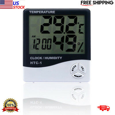 LCD Temperature Humidity Weather Meter Hygrometer Room Indoor Thermometer Clock~