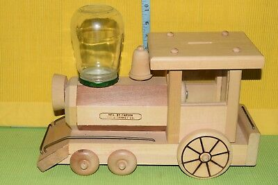 Vintage Wooden Train Engine Gumball Candy Dispenser Carson Toy Trinket Company