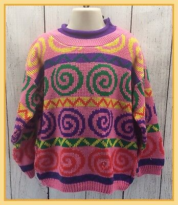 🔴80s 90s Vintage Girls Irene Charles Colorful Swirl Pattern Knit Sweater Size 6