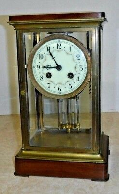 Antique S Marti French Chime Clock Crystal Regulator Mahogany Base & Top Working