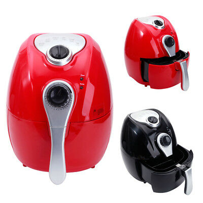 1500W LCD Electric Air Fryer Cooking Presets Temperature Control Timer Black/Red