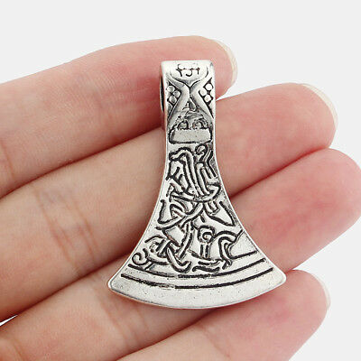 5Pcs Large Antique Silver Celtic Axe Head Charms Pendants Jewelry Findings 43mm