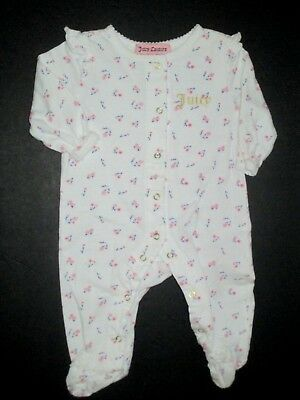 Infant Girls Juicy Couture Pink & Blue Floral Gold Logo Footie Outfit Size 0-3 M