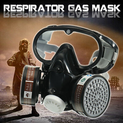 Silicone Goggles Double Filter Full Face Respirator Mask Chemical Gas Dust Proof