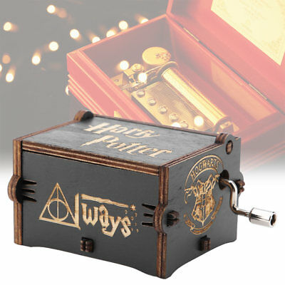 Wooden Music Box Harry Potter Star Wars Engraved Hand Crank Music Box Kids Toys