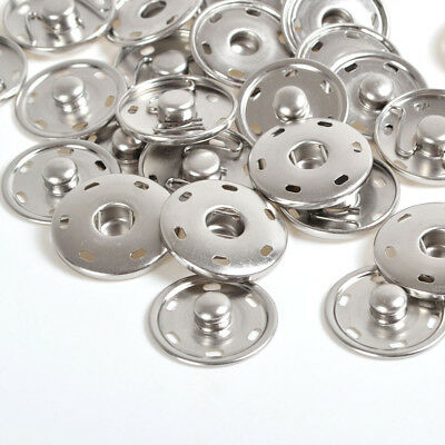 Silver 8/15/17/21/25/30mm Sew On Snaps Fastener Press Studs Pop Sewing Buttons