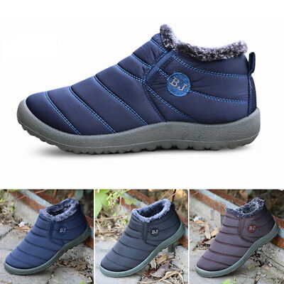 Men's Waterproof Soft Thick Breathable Faux Fur Snow Boots Casual Shoes Footwear