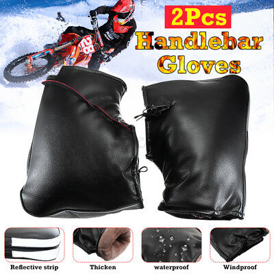 New Leather Velvet Motorcycle Bike Handlebar Grip Muffs Gloves Mitts Hand Warmer