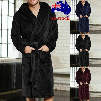 Mens Fleece Terry Towelling Shawl Dressing Gown Bathrobe Winter Soft Bath Robe