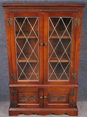 Old Charm Carved Oak Leaded Bookcase Cabinet Tudor Brown