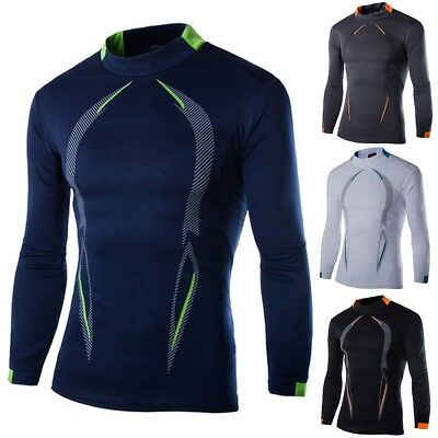 Men Compression Tight Base Layer Skin Top Thermal Under Shirt Sport Gym Athletic