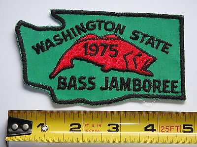"Washington Bass Jamboree 1975 Fishing Patch Excellent Condition 5"" X 3"""