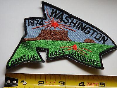 "Washington Bass Jamboree 1974 Fishing Patch Excellent Condition 6"" X 4"""