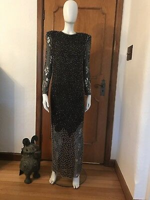 Vintage Cut Out Dress Sequined Beaded Maxi Party Evening Cocktail Sz S 80's