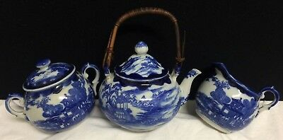 Antique Japan Blue Willow Tea Set Teapot Creamer Sugar Bamboo 4 Character Mark