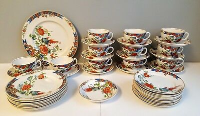 43pc CUPS SAUCERS & PLATES WOOD & SONS BIRD OF PARADISE ENGLAND 3/21/1917 (WOO1)