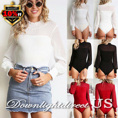 US Womens Long Sleeve Bodysuit Stretch Ladies Leotard Body Tops T-shirt Jumpsuit