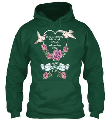 In style Happy Valentines Day - Love Is Like A Butterfly Standard College Hoodie