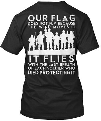 Flag Flies With Soliders Past Veteran Solider Standard Unisex T-shirt (S-5XL)