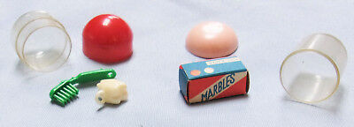 2 Vtg. Gumball Vending Machine Charm Prizes In Cases-Marbles, Toothbrush+Tooth