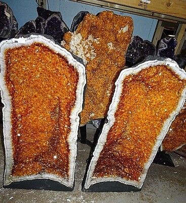 Beautiful  Large  27.5 In.brazilian Citrine Crystal Cathedral Cluster Geode Pair