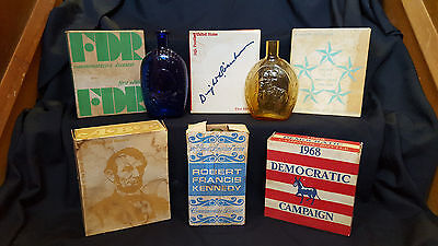 Collection of 8 Presidential Glass Decanters made by Wheaton Arts