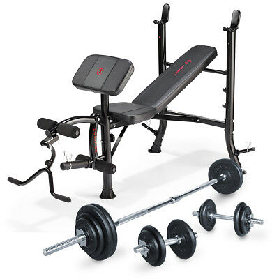 Marcy Eclipse BE1000 Weight Bench with 50kg Cast Iron Barbell & Dumbbell Set