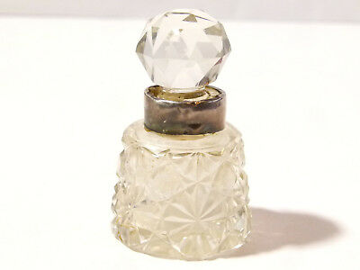1899 Cut Glass and Silver Scent Perfume Bottle  *