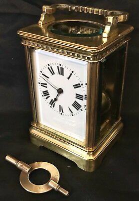CHIMING Brass Carriage Mantel Clock Timepiece with Key  Working Order