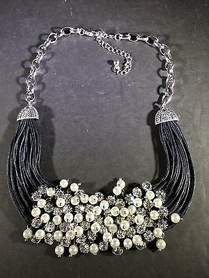 Z) Bling Bling Faux Pearl Silver Tone Black Cord Necklace