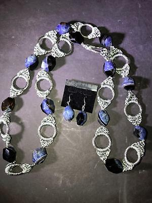 Z) Stone Bead Blue Silvertone Rings Necklace China And Earrings