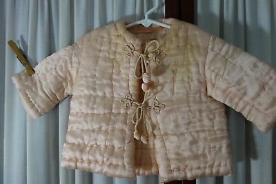 1930's Baby Coat -  Hand-Quilted Pink Silk w/Frog Ties- ADORABLE - BARGAIN PRICE