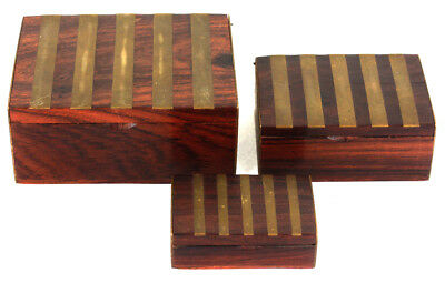 Set (3) Antique Master Craftsman Walnut and Mahogany Brass Inset Nesting Box Set