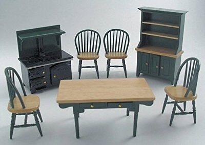 1/12th Scale Green Kitchen Dolls House Furniture Set Streets Ahead