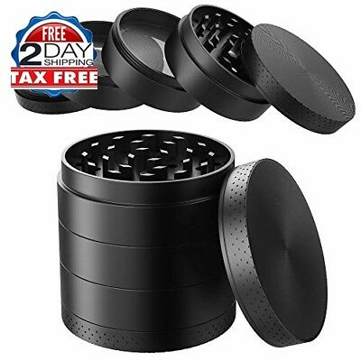 Spice Grinder Extra Large 5 Piece Tobacco Sharp Metal /Herb Crusher 2.5 Inch
