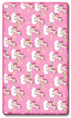 Printed Cot Fitted Sheets 100% Cotton Soft Jersey (120 x 60 cm) - Unicorn Pink