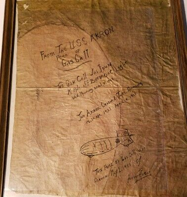 1933 Gas Cell , USS AKRON, DIRIGIBLE, Airship DISASTER Souvenir With DRAWING