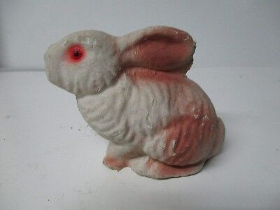 Vintage Mache Sitting Easter Rabbit with Pink Highlights
