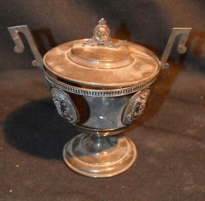 Early Medallion Covered SILVER PLATE Candy dish, missing glass liner, Silverplat