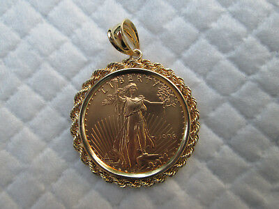 1996 Gold American Eagle 1/2 oz Gold Bullion Coin Mounted in Rope Bezel