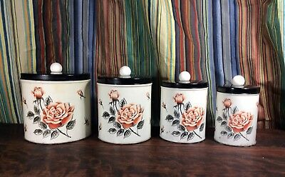 Vintage Shabby Chic Rose Decorated Metal Cannister Set
