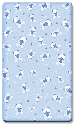 Printed Cot Bed Fitted Sheet 100% Cotton Sheets (140 x 70 cm) - Teddy Bear Blue