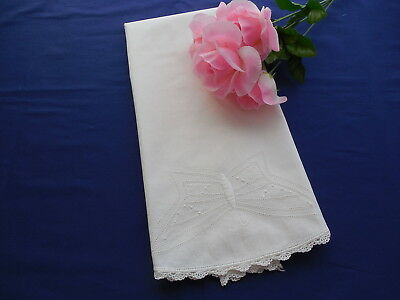 Vintage White Embroidered Butterfly Pillowcase