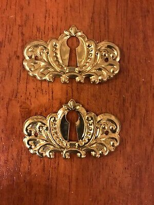 Set of 2 Victorian Style Stamped Brass Decorative Escutcheon Key Hole Cover
